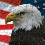 Profile of a bald eagle superimposed over the American flag.