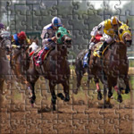 Horse Racing, Four horses with jockys racing at an american racetrack, USA.