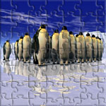 An icelandscape with penguins. A computerized greeting from the Southpole.